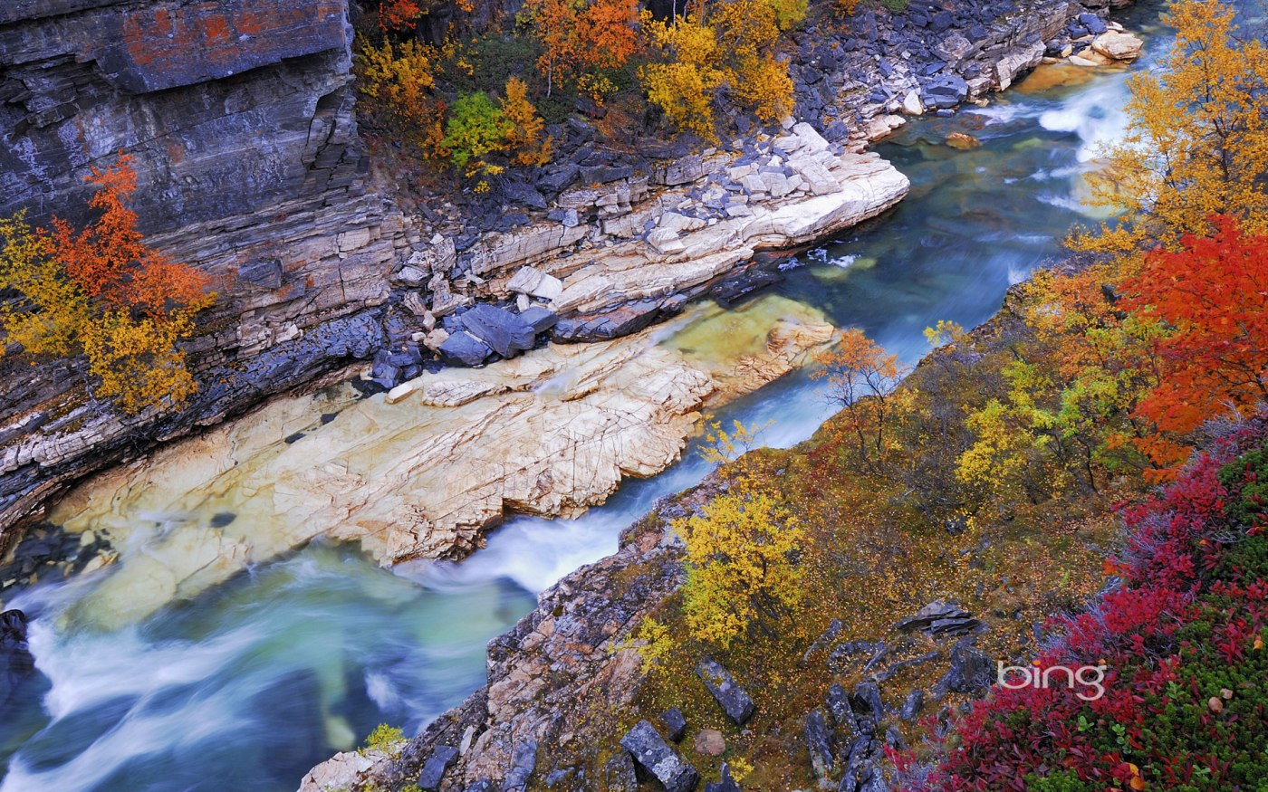 Autumn scenery along the Abiskojåkka River in Abisko National Park, Norrbotten, Lapland, Sweden